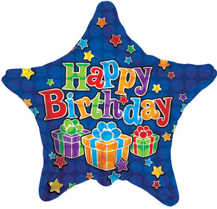 "18"" Blue Birthday Stars Balloons 1ct"