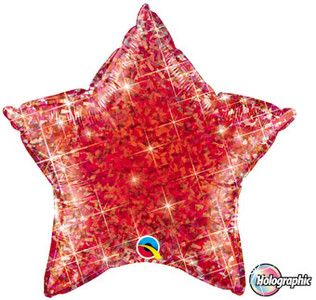 "20"" Qualatex Holographic Red Star Foil Balloon 1ct"
