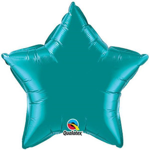 "20"" Qualatex Metallic Teal Star Foil Balloon 1ct"