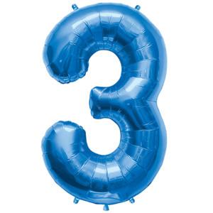 "34"" Blue # 3 Balloon"