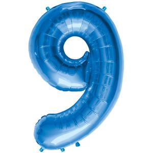 "34"" Blue # 9 Balloon"