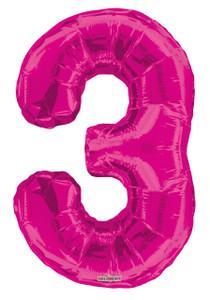 """34"""" Magenta # 3 Balloon"""