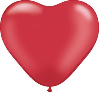 "6"" Qualatex Pearl Ruby Red Hearts 100ct"