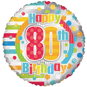 "18"" 80th Birthday Balloons 1ct"