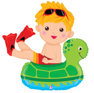 "**Special** 40"" Pool Party Boy Floatie Super Shape Balloon #35248"