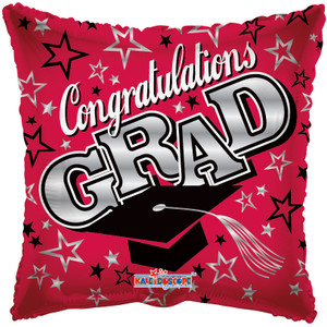 "18"" Congrats Grad Red Square Balloon 1ct #85173"