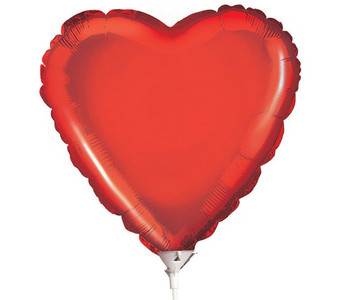 "9"" Mini Red Heart Foil Balloon Air Fill 1ct"