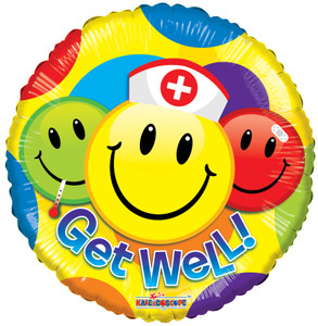 "9"" Get Well Smileys Air Fill 1ct #19720"