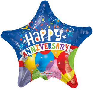 "18"" Anniversary Balloon Star Shape 1ct"