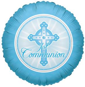 "18"" Communion Balloons Blue 1ct"