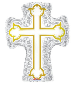 "36"" Jumbo Silver & Gold  Religious Cross Balloon 1ct #19442"