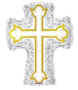"""36"""" Jumbo Silver & Gold  Religious Cross Balloon 1ct #19442"""