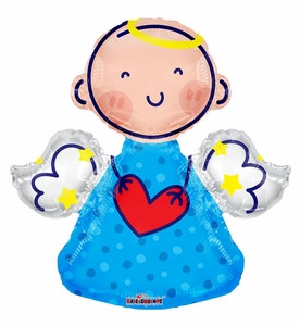 "14"" Mini Boy Angel Shape Air Fill Balloon 1ct #35277"