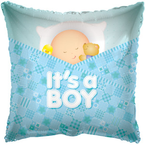 "18"" Baby Boy Square Shape 1ct #17734"