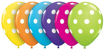 "5"" Qualatex Tropical Assort Big Polka Dot Latex Balloons 100Bag #36711"