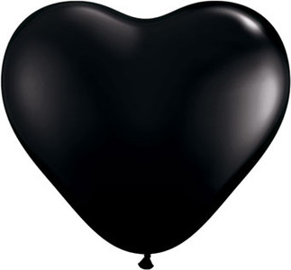 "**Special Price**6"" Qualatex Onyx Black Heart 100ct"