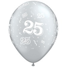 "11"" 25th Silver Anniversary Latex 50ct"