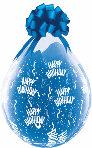 "18"" Qualatex Clear Stuffing Balloon Birthday Print 25ct #37548"