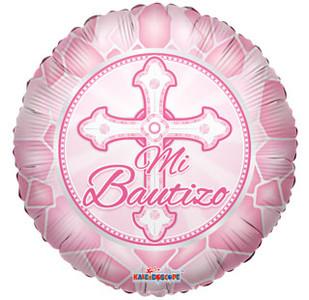 """18"""" Mi Bautizo Pink Balloons 1ct #34229"""