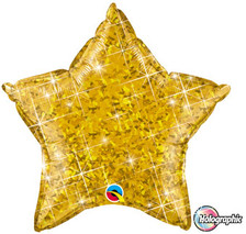 20 inch qualatex holgraphic gold star foil balloon