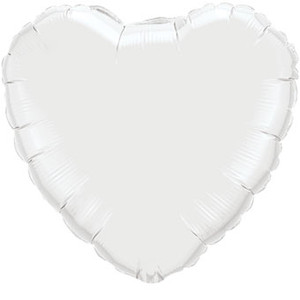 "36"" White Foil Heart Balloon 1ct  #12668"