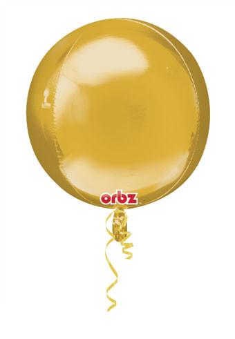Shiny Balloons Gold Round Orbz 4Panel Spherical Mylar Helium Gold Balloon 3Pack
