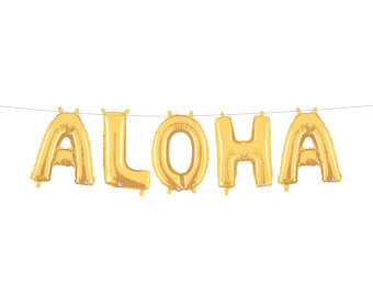 "34"" Large Gold ""ALOHA"" Balloon Kit- Includes 5 Letter Balloons"
