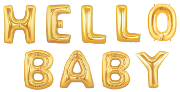 "16"" Mini Air Fill Gold ""HELLO BABY"" Balloon Kit- Includes 9 Balloons"