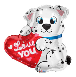 "20"" Dalmatian I Love You Dog  Shape Helium Foil Balloon 1ct #15711"