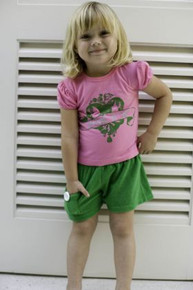 Green Cotton Terry Baby Shorts