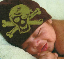 Infant Hat - Brown with Green Skull