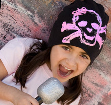 Infant Hat - Black with Pink Skull