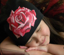 Black Infant Hat with Red Rose