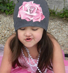 Gray Infant Hat with Pink Rose