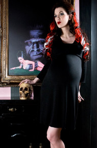 Black Fitted Long Sleeve Maternity Dress
