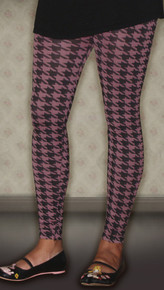 Pink Houndstooth Print Maternity Leggings