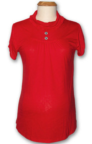 Skully Ruffle Maternity Tunic Top - Red
