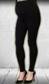 Adjustable Waist Black Maternity Leggings