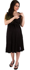 Nightie Night Black Hospital Delivery and Nursing Gown