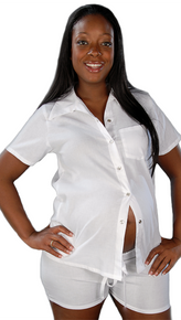 White Cotton Short Sleeve Pajama Set