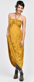 Golden Maternity Maxi Dress