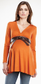 Trendy Maternity Top with Kimono Belt