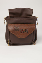 Deluxe Soft Double Pouch- Clay Shooters Supply logo flap- Brown
