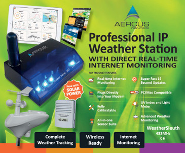 Aercus Instruments™ WeatherSleuth® - Professional IP Weather Station with Direct Real-time Internet Monitoring
