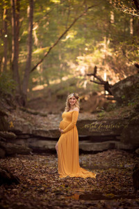 CORALIE Off Shoulders Long Sleeves Maternity Dress Gold