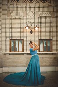 Caroline Circle Chiffon Maternity Dress Off Shoulders Top, turquoise