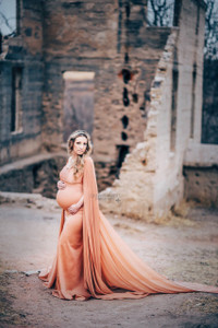 Avery Maternity Dress, Vintage Bronze Fitted Maternity Cape Gown with long butterfly train, Cape Maternity Dress