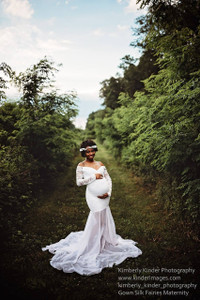 Louisa Chiffon White Mermaid Maternity Gown, Lace top with long sleeves, off shoulders, sweetheart neckline, long train