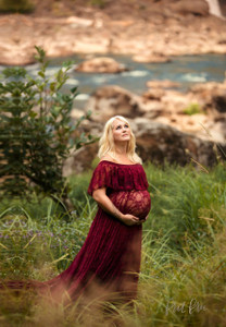 Perla Lace Maternity Gown, Burgundy, Off Shoulders Ruffle