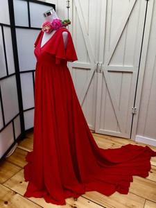 Rachel Red Maternity Dress, Full Circle, V Neckline, Open Flutter Sleeves